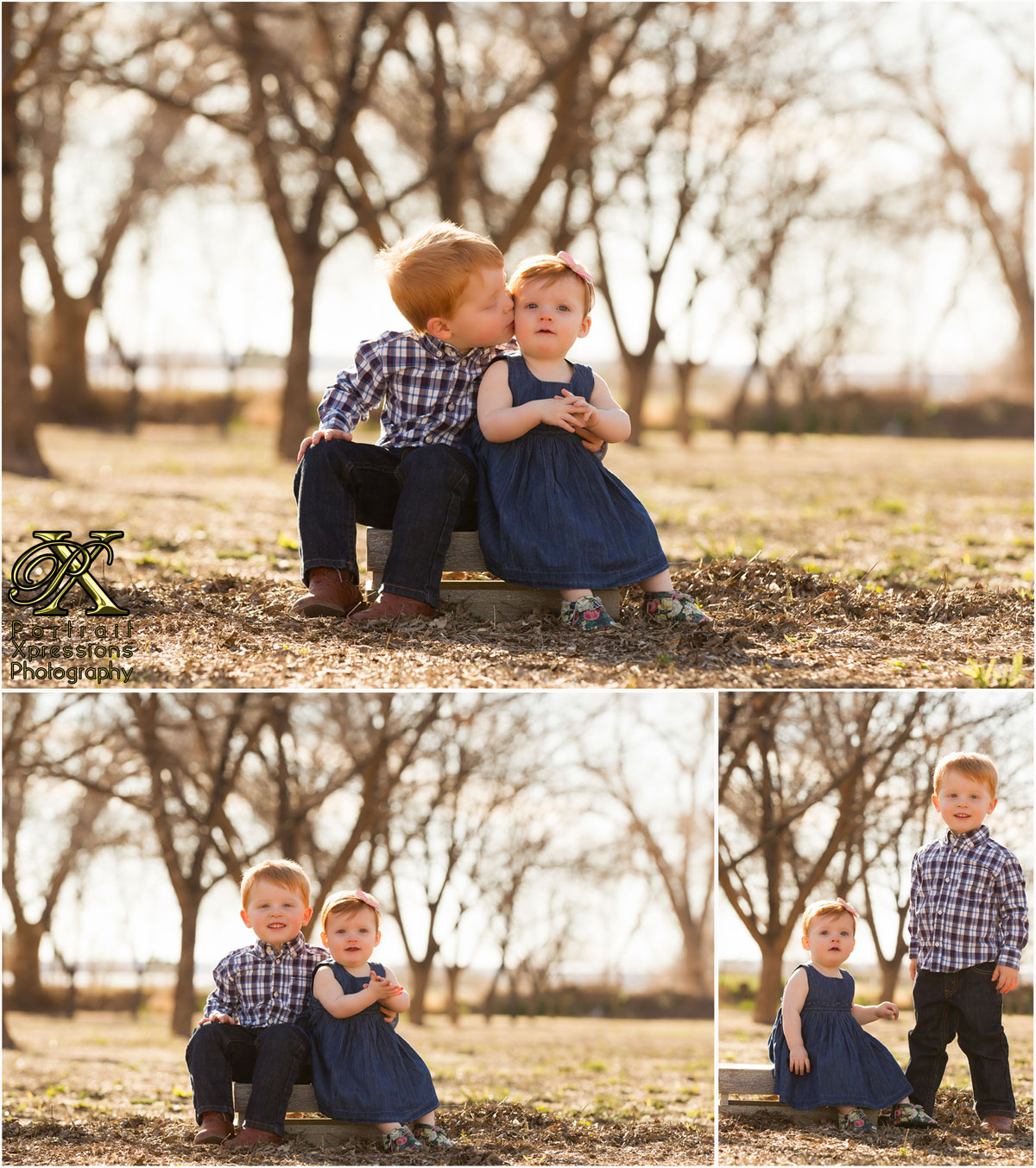 baby Joley with older brother kiss in outdoor session.