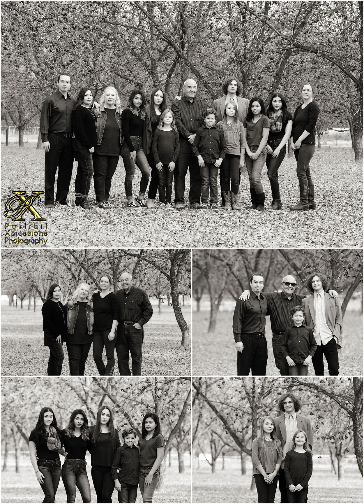 extended family fall photography session in black and white