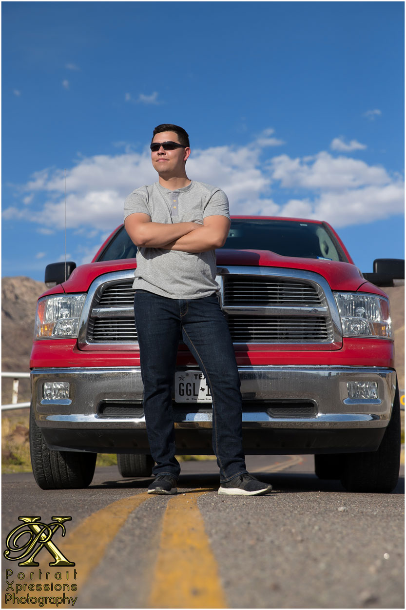 senior with truck