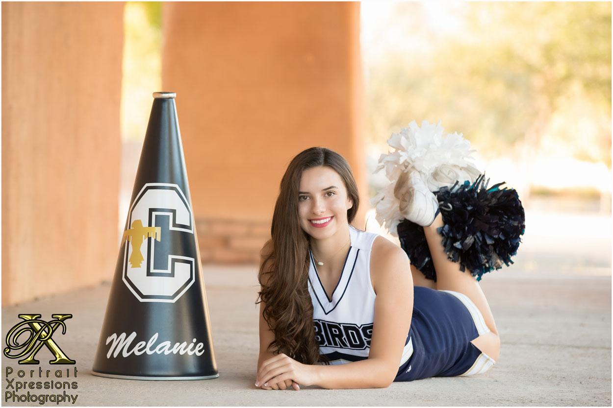 portait session for high school senior cheerleader