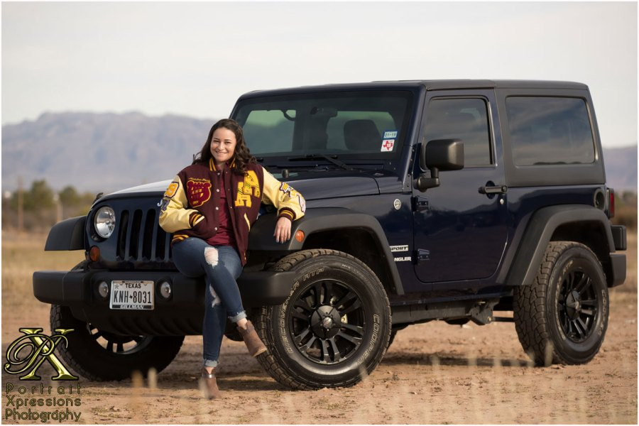 high school senior with jeep