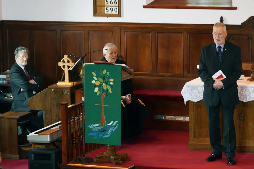 Mr Bill Marshall, Session Clerk (with Rev S Fazakas and organist Dr D Sime