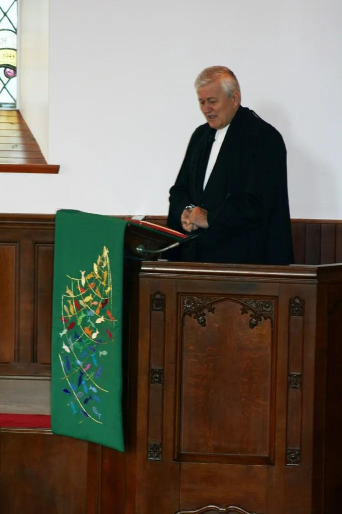 Rev Sandor Fazakas with new pulpit fall
