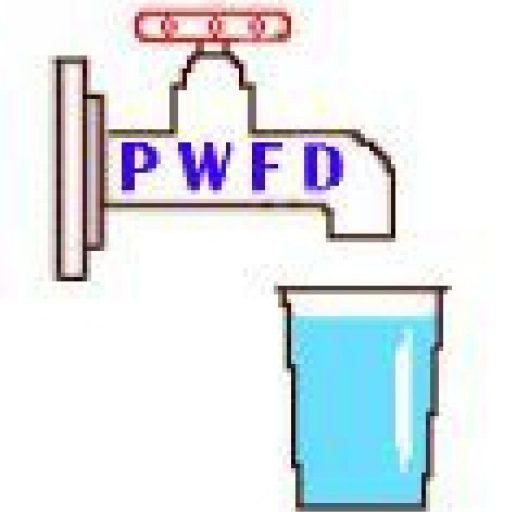 PWFD logo of spigot filling a glass.