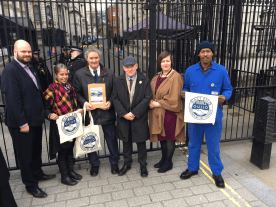 Outside Downing Street ready to deliver petition to No.10