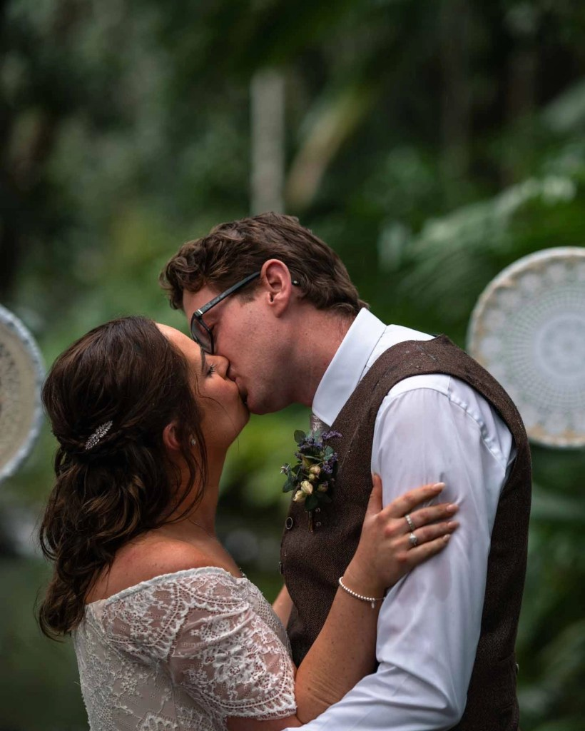 First kiss for married couple secret wedding