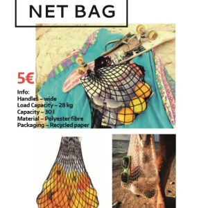 Netbag handmade beach accessory in black colour