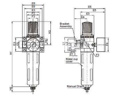 Preparação unidades FESTO ar filtro regulador, OFR-MINI-1