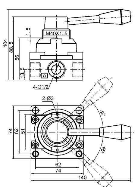 Válvula de controle G3/8 direcional manual, válvula de