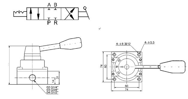 3 válvula de interruptor manual pneumática G1/4 da mão do