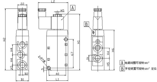 Maneira Festo G1/4 padrão da posição cinco da válvula de
