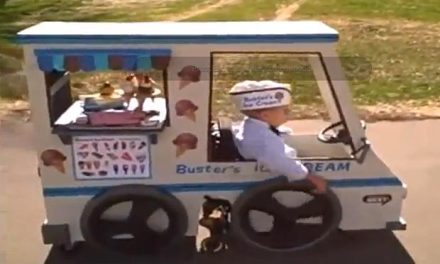 Dad's ice cream van costume for wheelchair-bound son