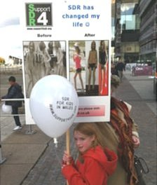 Cerebral palsy SDR operation funding protest march to Senedd