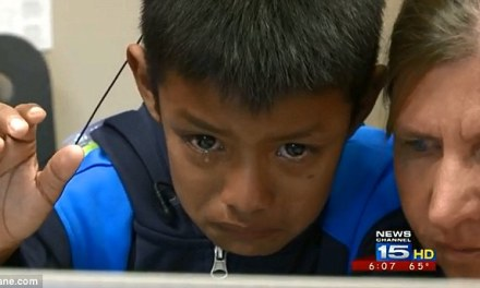 Boy, 7, hears for the first time and breaks into tears after talking to his family in Guatemala over Skype