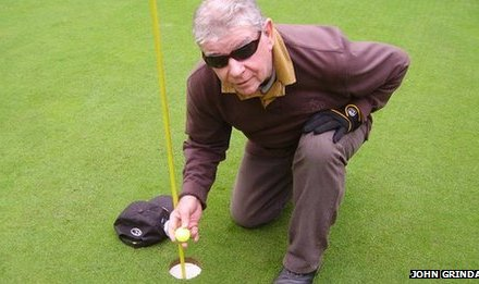 Blind golfer Jim O'Brien hits 'incredible' hole-in-one at Hindhead Golf Club