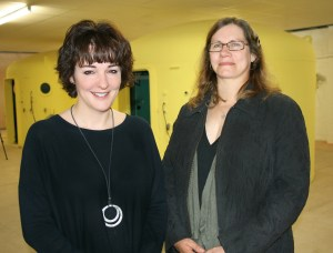 Deborah Powell and Joanne Goodwin at the nearly-finished MS Therapy Centre