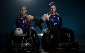 LEICESTER, ENGLAND - JUNE 10:  Ayaz Bhuta and Jim Roberts of Great Britain poses for a picture during the Great Britain Wheelchair Rugby Media Day on June 10, 2015 in Leicester, England.  (Photo by Tom Shaw/Getty Images,)