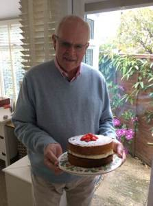 Blind veteran Graham Smith with one of his bakes