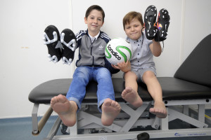 21.12.15 - Leicester. Brothers Kian (11) and Callum (7) Jarram from Leicester receive an early Christmas present in the form of new prosthetic feet from the Blatchford clinic in Leicester. Photo: Professional Images/@ProfImages