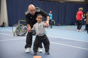 Coach Oliver and a pupil from Southern Road Primary School