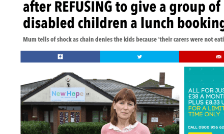 Worcester Pizza Hut refuse disabled children their lunch booking