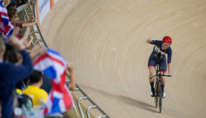 Sarah Storey GBR winning the Gold Medal in the Women's C5 3000M Individual Pursuit in the Rio Olympic Velodrome. The Paralympic Games, Rio de Janeiro, Brazil, Thursday 8th September 2016. Photo: Al Tielemans for OIS/IOC.  Handout image supplied by OIS/IOC