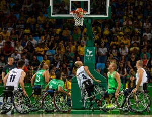 Players in action during the GBR Great Britain vs BRA Brazil Men's Wheelchair Basketball Group B Preliminary, Match 30, at the Carioca Arena 1. The Paralympic Games, Rio de Janeiro, Brazil, Saturday 10th September 2016. Photo: Thomas Lovelock for OIS/IOC.  Handout image supplied by OIS/IOC