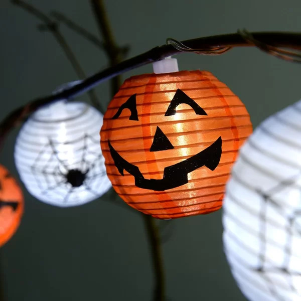 Halloween themed pumpkin Chinese lanterns on a string
