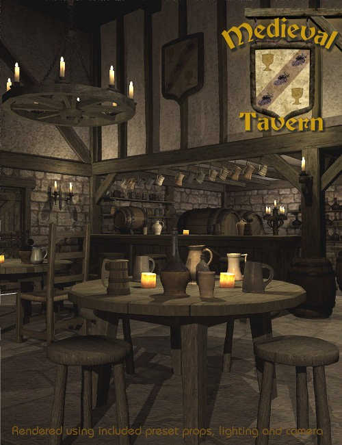 pub kitchen table set organizer medieval tavern | environments and props for daz studio ...