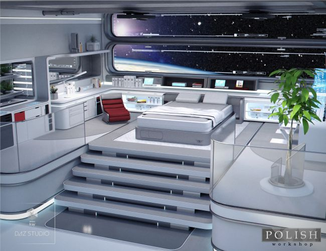 Space Station Living Quarters  3D Models for Poser and