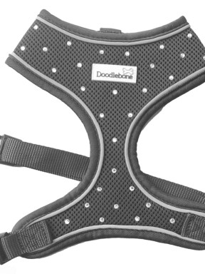 Swarovski Crystal Airmesh Dog Harness in Charcoal