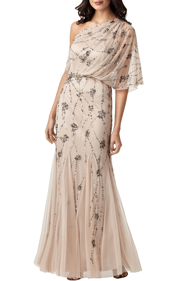 ADRIANNA PAPELL Beaded One Shoulder Blouson Gown in Beige