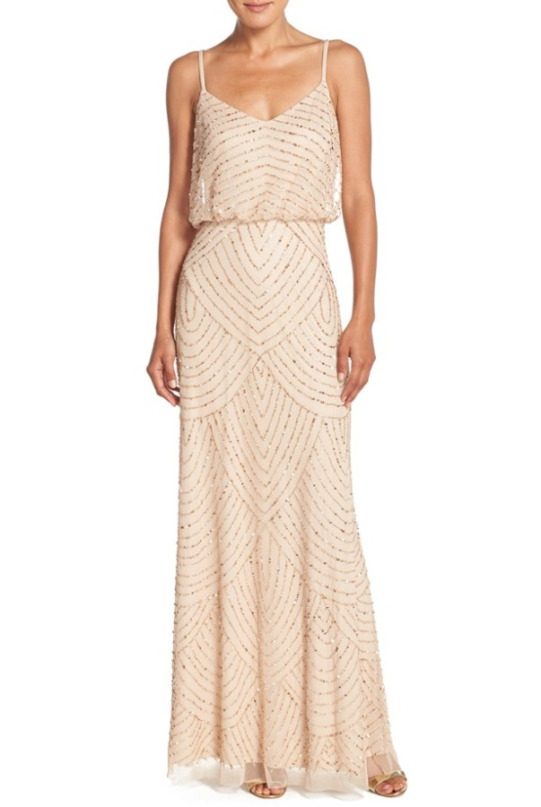 ADRIANNA PAPELL Art Deco Blouson Gown in Champagne Gold