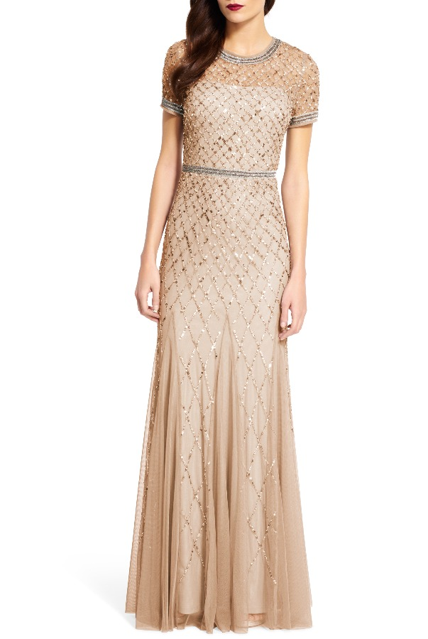 ADRIANNA PAPELL Cap Sleeve Beaded Gown Champagne - Bridesmaid Special