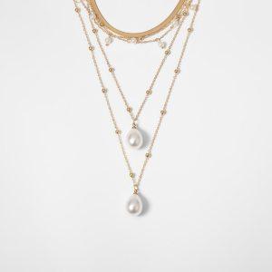 Women Bohemian Multi Layer Imitation Pearl Tassel Choker Necklace Collar Statement Pendant Necklace Jewelry