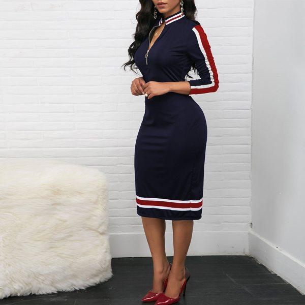 Women Long Sleeve Sport Style Dress With Zipper