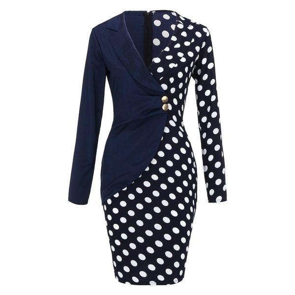 #H30 Fashion Women Dress Vestido Long Sleeve Buttons Polka Dot Patchwork Bodycon Blazer Office Lady Mini Dress платье женское