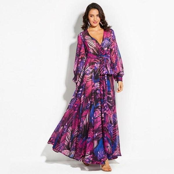 Fashion Long Sleeve Tropical Vintage Maxi Dress