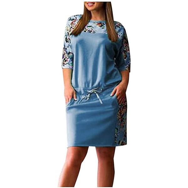 Plus Size Floral Print Mid Sleeve Dress