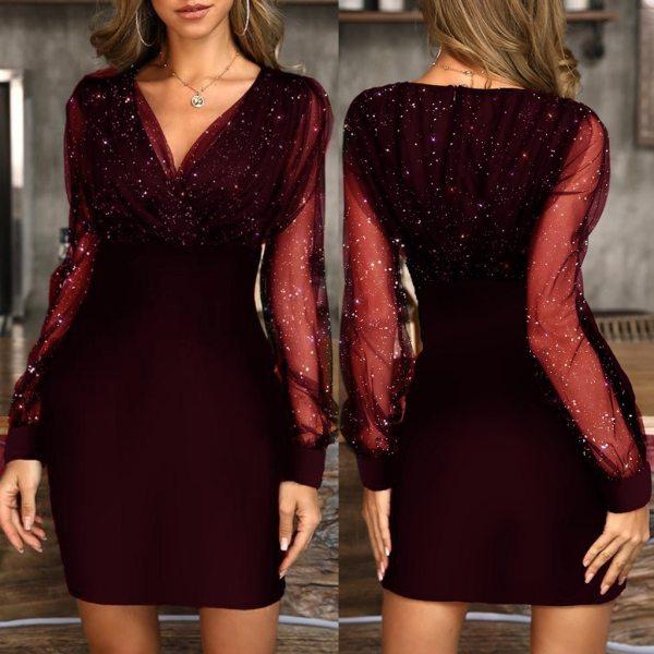 Sequin V-Neck Sheer Mesh Lantern Sleeve Dress