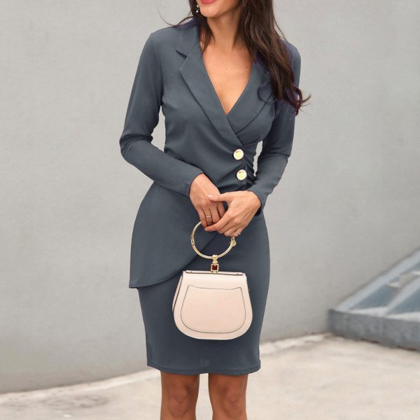 Women Autumn Long Sleeve Solid Button Bodycon Sexy Blazer Pencil Dress Work Office Formal Business Elegant dress