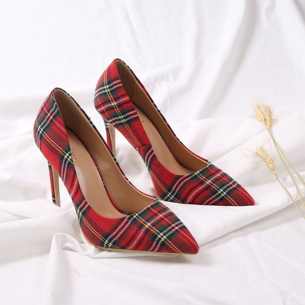 Red Plaid Thin Heels Pointed Toe Shoes