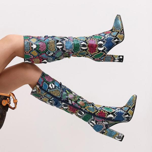 Colorful Pointed Toe High Boots With Zip