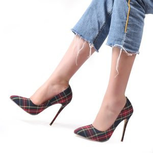 Dark Plaid Thin Heels Pointed Toe Shoes