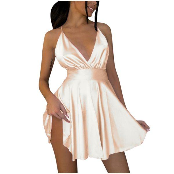 JAYCOSIN Women's Solid Satin Sleeveless Suspenders Backless Bow-knot V-Collar Mini Dress Sexy Club Party Dresses vestidos