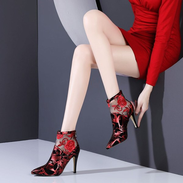 Colorful Suede & Mesh Embroidery Ankle Boots With Zip R