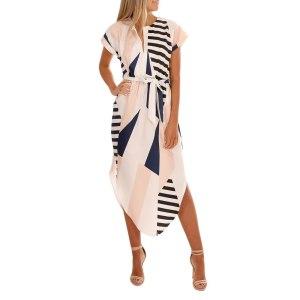Short Sleeve Asymmetrical V-Neck Printed Dress