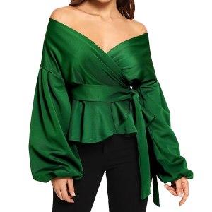 Elegant Solid V Neck Long Sleeve Blouse