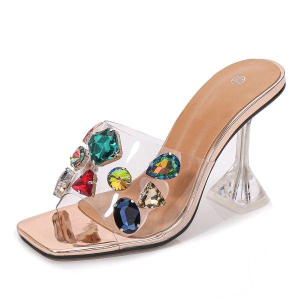 Crystals See Thru High Heel Slip On Mules