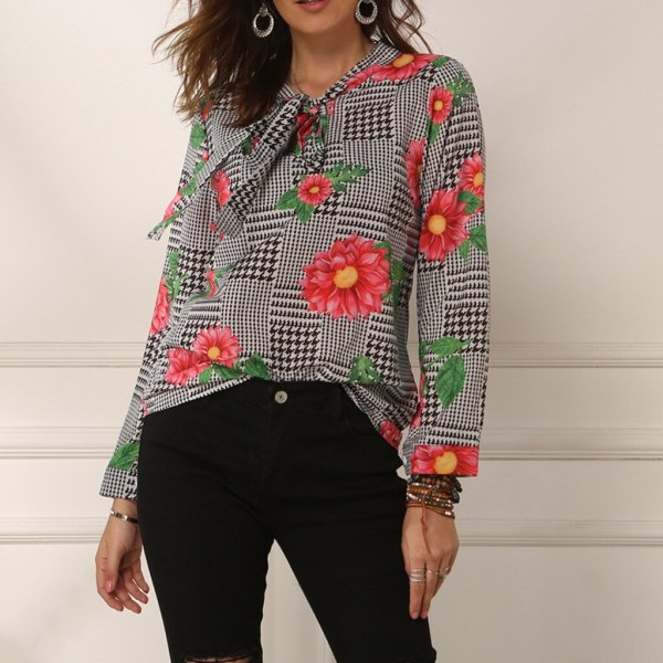 Fashion Flower Printed Front Tie Long Sleeve Shirt